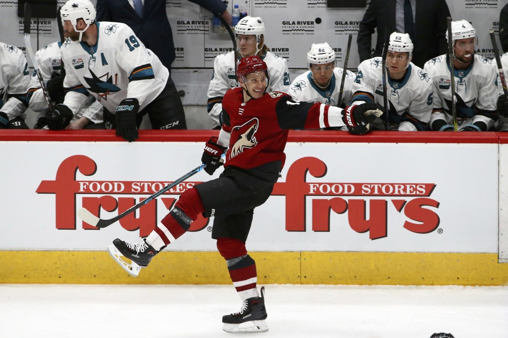 Arizona Coyotes right wing Richard Panik celebrates his goal against the San Jose Sharks during the first period of an NHL hockey game Wednesday, Jan.