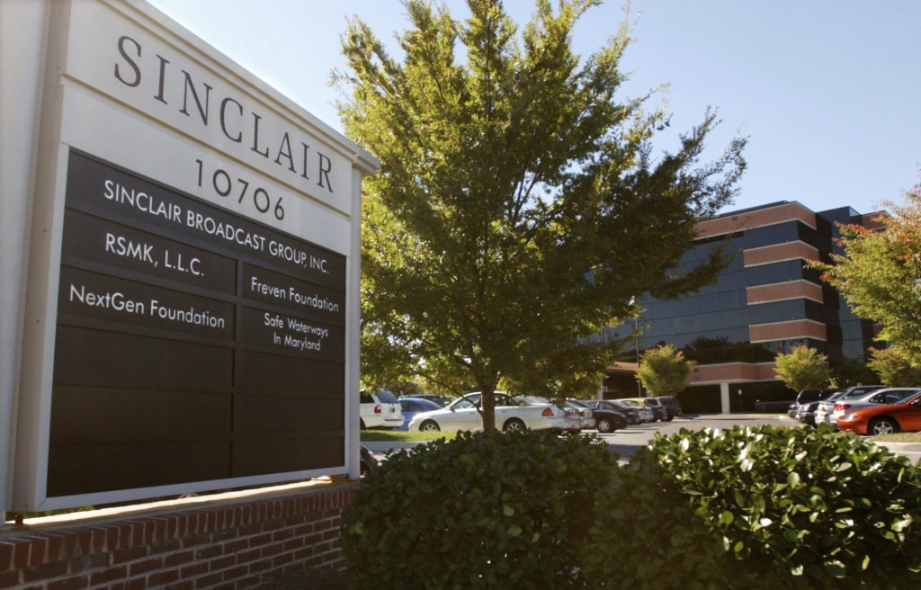 FILE - In this Tuesday, Oct. 12, 2004, file photo, Sinclair Broadcast Group, Inc.'s headquarters stands in Hunt Valley, Md. Sinclair Broadcasting want