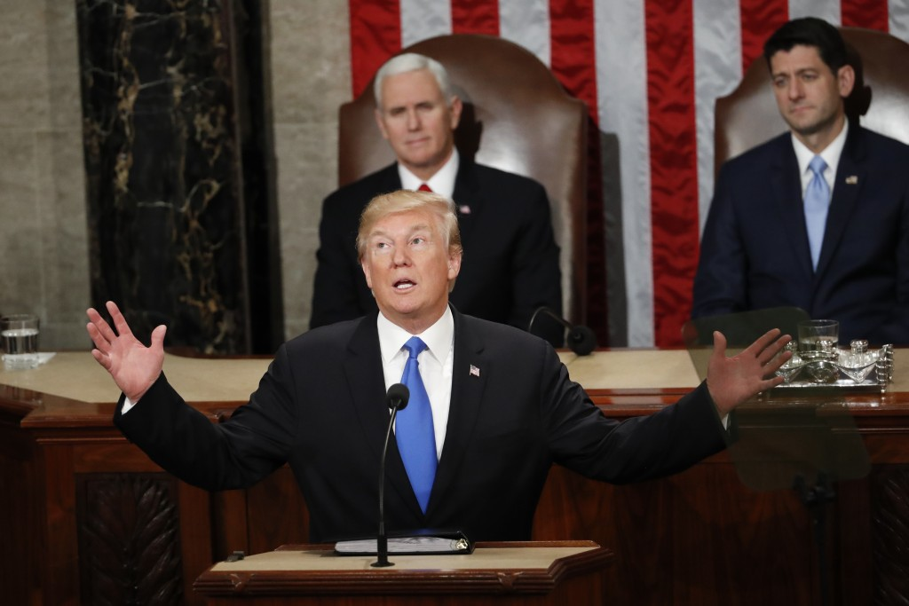 FILE - In this Jan. 30, 2018 file photo, President Donald Trump delivers his State of the Union address to a joint session of Congress on Capitol Hill