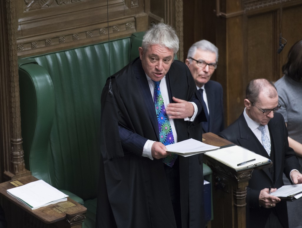 Speaker of the House of Commons John Bercow speaks during a debate before a no-confidence vote on Britain's Prime Minister Theresa May raised by oppos