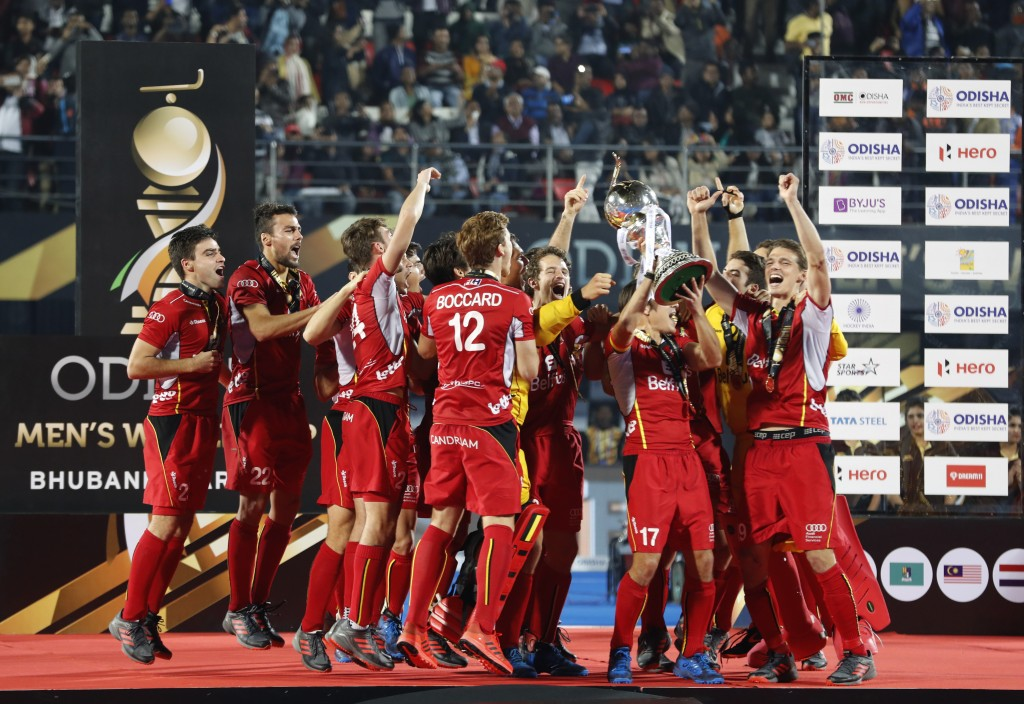 FILE - In this Sunday, Dec. 16, 2018 file photo, Belgium players celebrate with the winners trophy after their win over Netherlands in the Men's Hocke