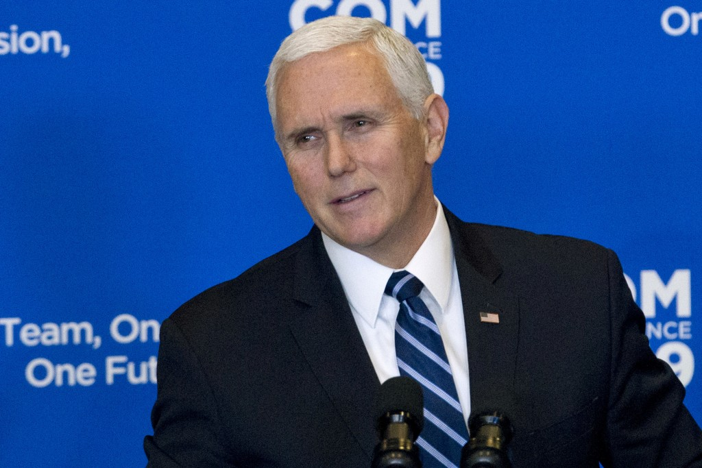 """Vice President Mike Pence speaks during the Global Chiefs of Mission Conference """"One Team, One Mission, One Future"""" at Department of State on Wednesda"""