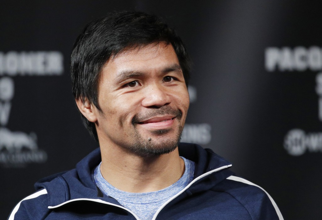 Manny Pacquiao attends a news conference Wednesday, Jan. 16, 2019, in Las Vegas. Pacquiao is scheduled to fight Adrien Broner in a welterweight champi