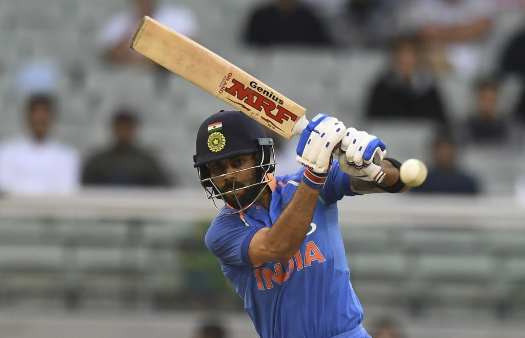 India's Virat Kohli bats during their one day international cricket match against Australia in Melbourne, Australia, Friday, Jan. 18, 2019. (AP Photo/