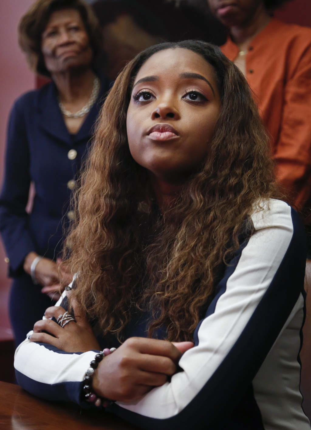 FILE - This Oct. 17, 2017, file photo shows civil rights leader and activist Tamika Mallory during a news conference in New York. Conflicts over contr...