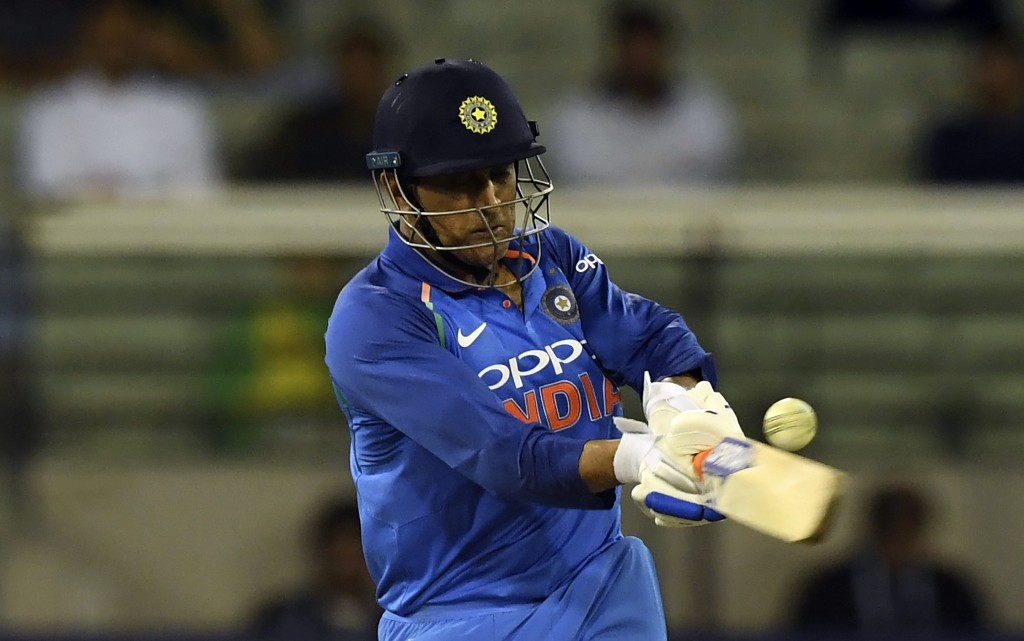 India's M.S. Dhoni bats during their one day international cricket match against Australia in Melbourne, Australia, Friday, Jan. 18, 2019. (AP Photo/M
