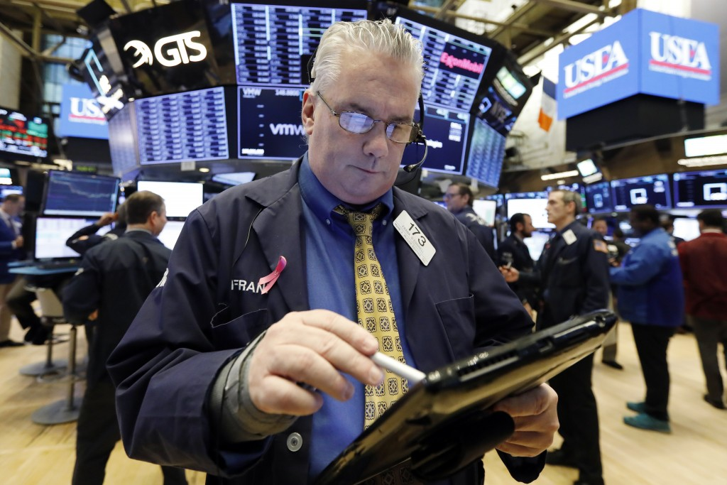 nullFILE- In this Jan. 11, 2019, file photo, trader Frank O'Connell on the floor of the New York Stock Exchange. The U.S. stock market opens at 9:30 a...