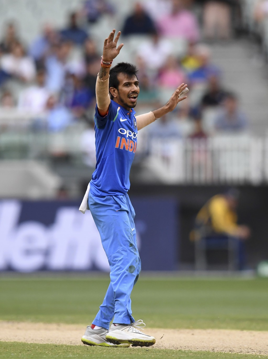 India's Yuzvendra Chahal appeals during their one day international cricket match against Australia in Melbourne, Australia, Friday, Jan. 18, 2019. (A