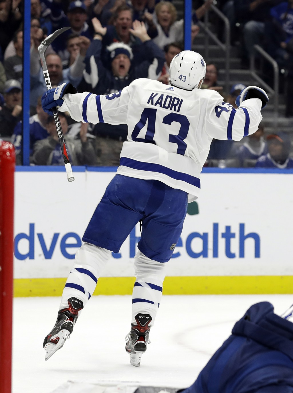 Toronto Maple Leafs center Nazem Kadri (43) celebates his goal against the Tampa Bay Lightning during the first period of an NHL hockey game, Thursday