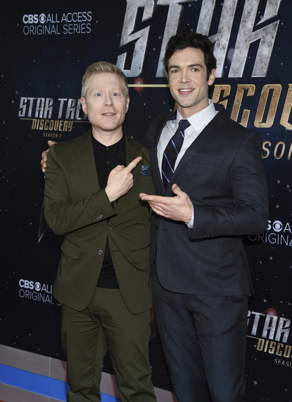"Actors Anthony Rapp, left, and Ethan Peck pose together at the ""Star Trek: Discovery"" season two premiere at the Conrad New York on Thursday, Jan. 17,"