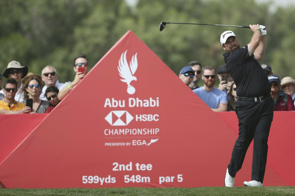 Shane Lowry of Ireland tees off on the 2nd hole in the final round of the Abu Dhabi Championship golf tournament in Abu Dhabi, United Arab Emirates, S...