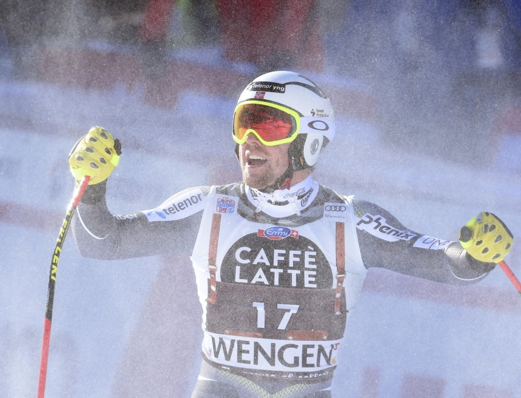 Norway's Aleksander Aamodt Kilde celebrates at the finish area of an alpine ski, men's World Cup downhill in Wengen, Switzerland, Saturday, Jan. 19, 2