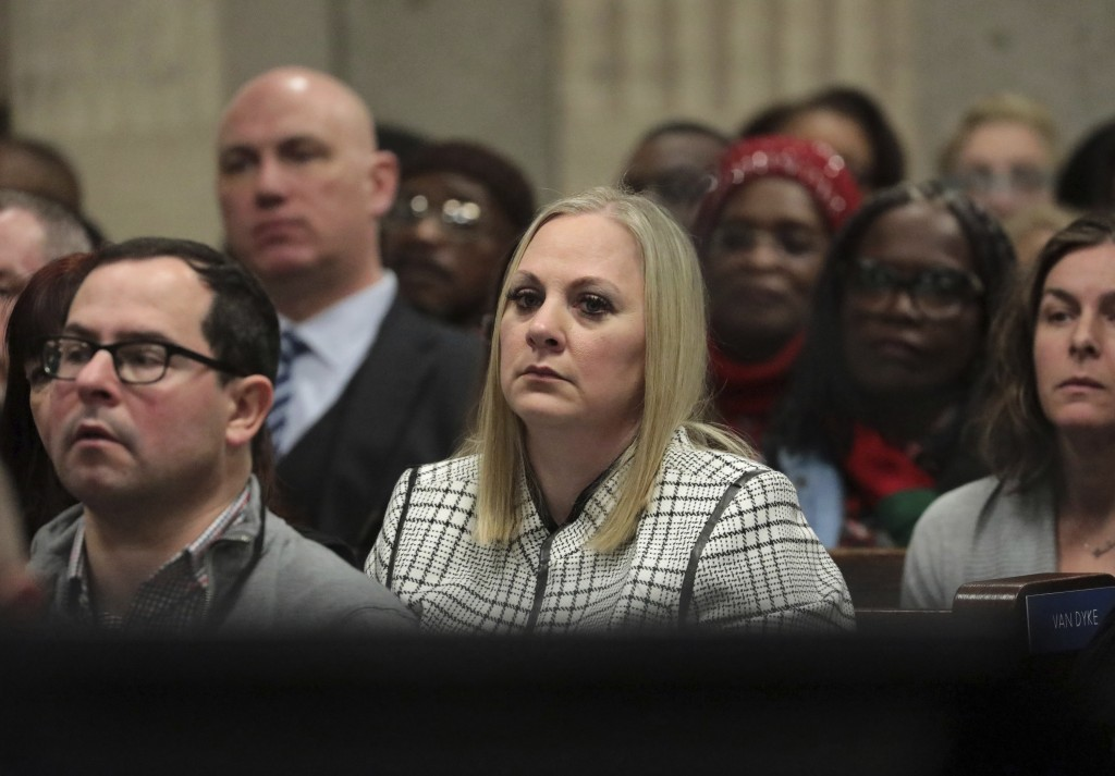 Tiffany Van Dyke wife of former Chicago police Officer Jason Van Dyke attends his sentencing hearing at the Leighton Criminal Court Building, Friday,
