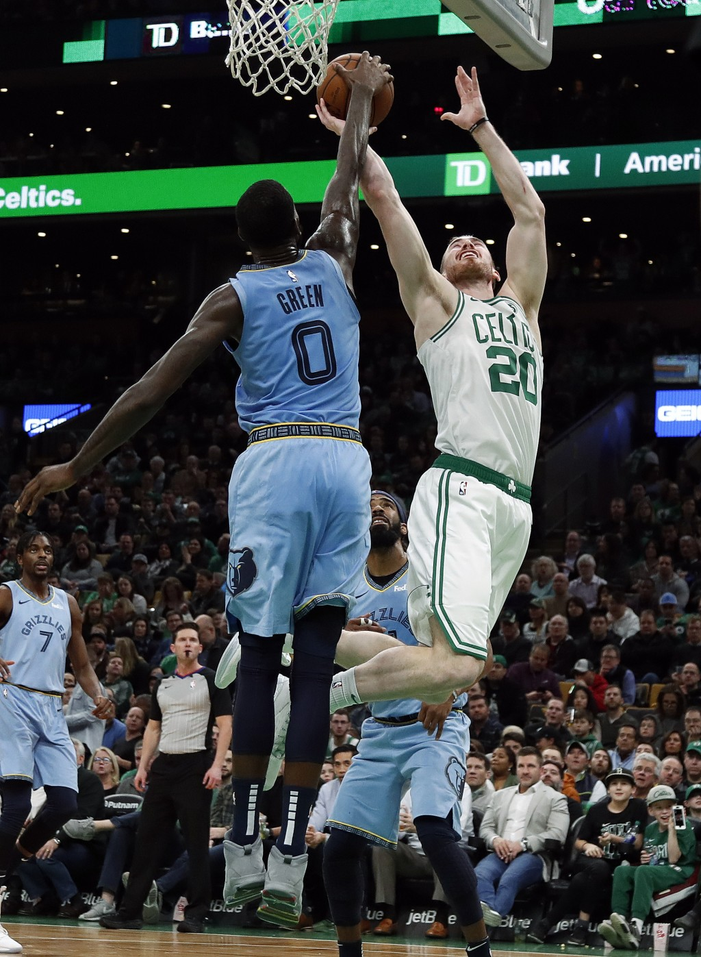 Boston Celtics' Gordon Hayward (20) has his shot blocked by Memphis Grizzlies' JaMychal Green during the second quarter of an NBA basketball game Frid
