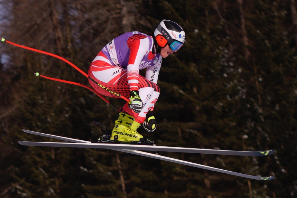 Austria's Ramona Siebenhofer speeds down the course during a women's skiing World Cup downhill in Cortina d'Ampezzo, northern Italy, Saturday, Jan. 19
