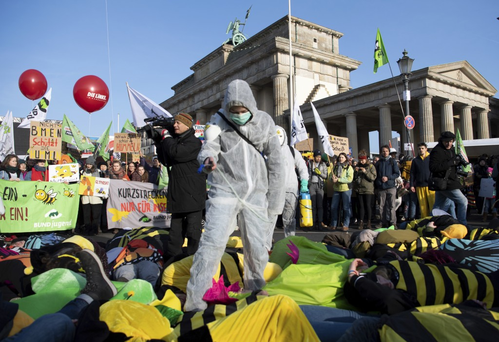 "Demonstrators protest formore animal welfare and protection in the agriculture on occasion of the ""Green Week"" fair in front of the Brandenburg Gate i"