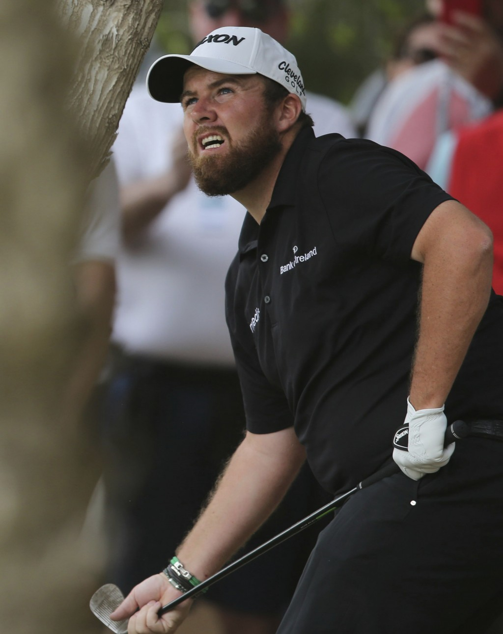 Shane Lowry of Ireland follows his ball on the 2nd hole in the final round of the Abu Dhabi Championship golf tournament in Abu Dhabi, United Arab Emi...