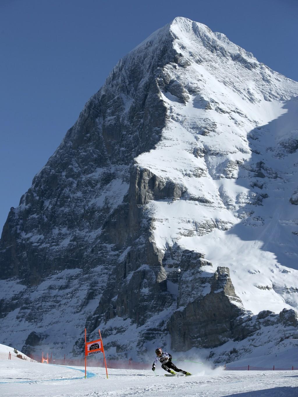 United States' Steven Nyman competes during an alpine ski, men's World Cup downhill in Wengen, Switzerland, Saturday, Jan. 18, 2019. (AP Photo/Shinich...