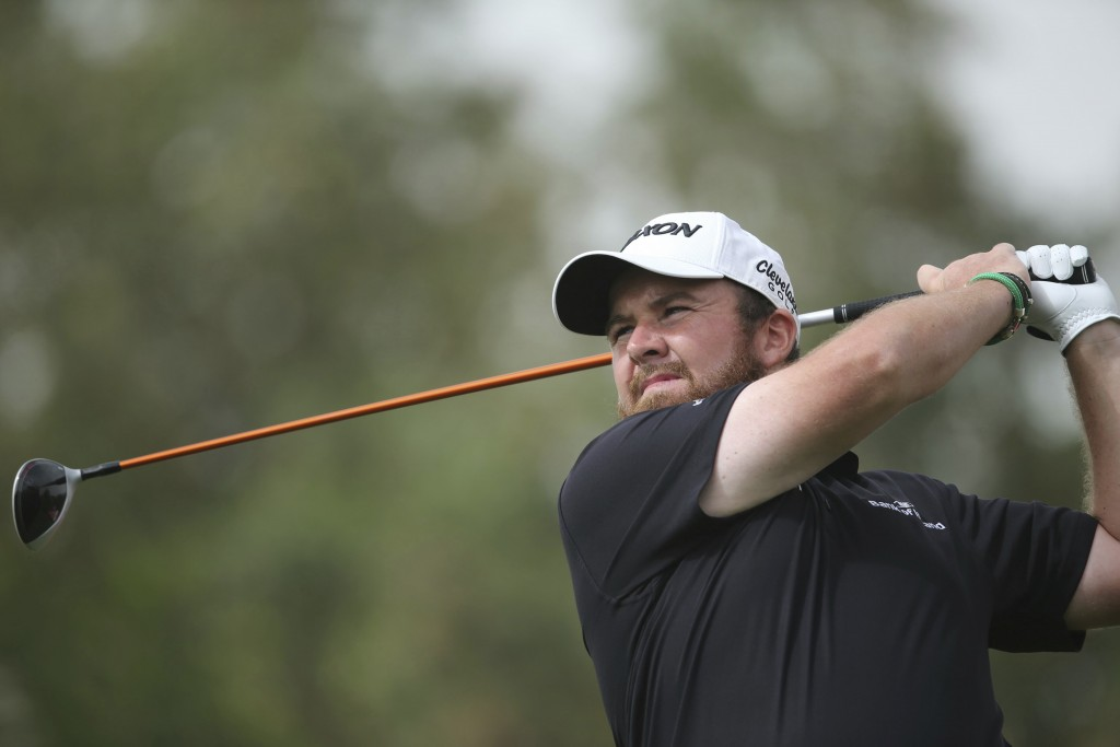 Shane Lowry of Ireland tees off on the 3rd hole in the final round of the Abu Dhabi Championship golf tournament in Abu Dhabi, United Arab Emirates, S...