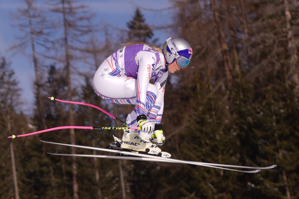 Lindsey Vonn of the United States speeds down the course during a women's skiing World Cup downhill in Cortina d'Ampezzo, northern Italy, Saturday, Ja...