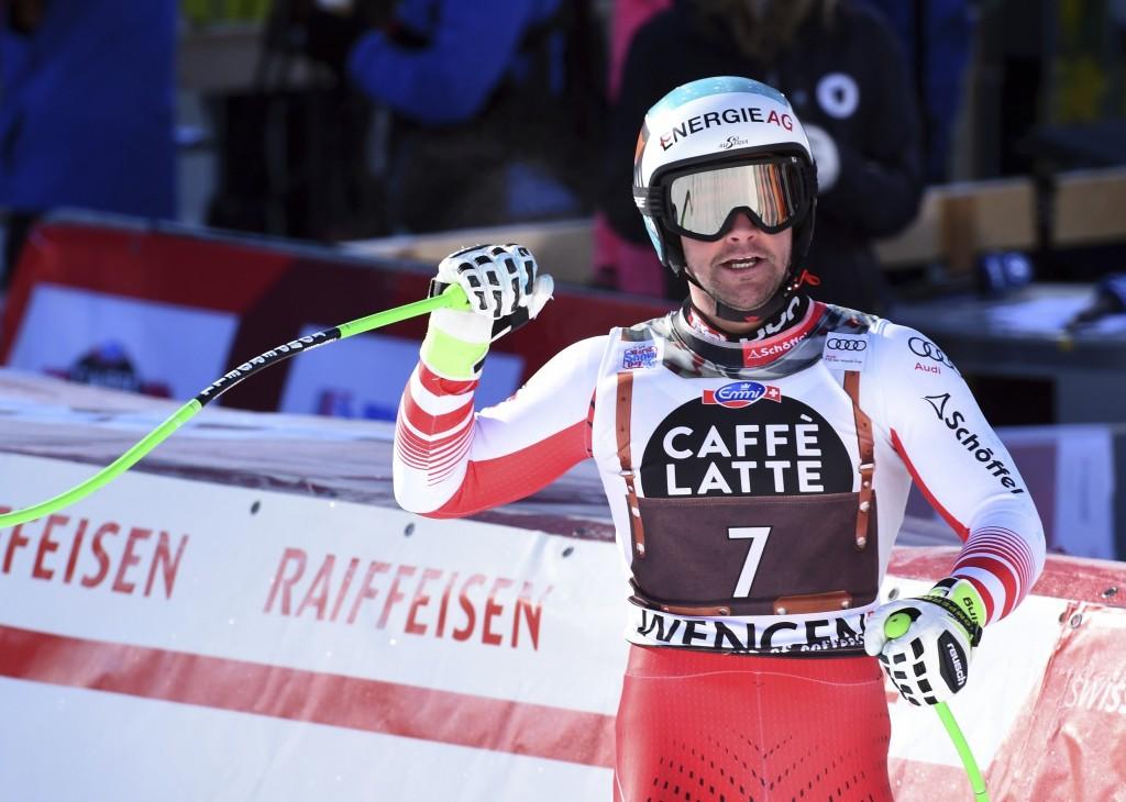 Austria's Vincent Kriechmayr celebrates during an alpine ski, men's World Cup downhill in Wengen, Switzerland, Saturday, Jan. 19, 2019. (AP Photo/Marc