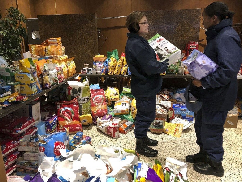 In this Thursday, Jan. 17, 2019 photo, members of the U.S. Coast Guard browse through bags of donated pet food at a pop-up pantry created by local Coa