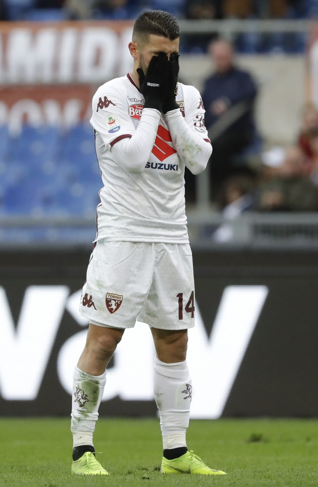 Torino's Iago Falque reacts after missing a scoring chance during a Serie A soccer match between Roma and Torino, at the Rome Olympic Stadium, Saturda