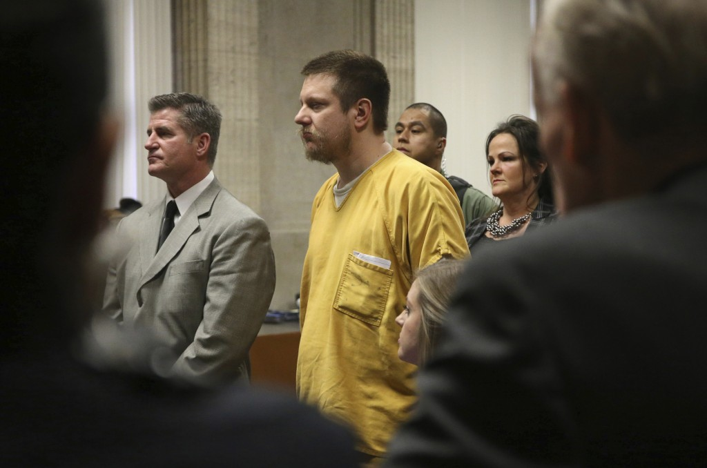 Former Chicago police Officer Jason Van Dyke and his attorney Daniel Herbert listen during Van Dyke's sentencing hearing at the Leighton Criminal Cour...