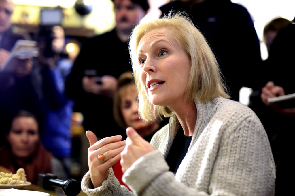 Sen. Kirsten Gillibrand, D-N.Y., meets with residents at the Pierce Street Coffee Works cafe, in Sioux City, Iowa, Friday, Jan. 18, 2019. Advocates fo...