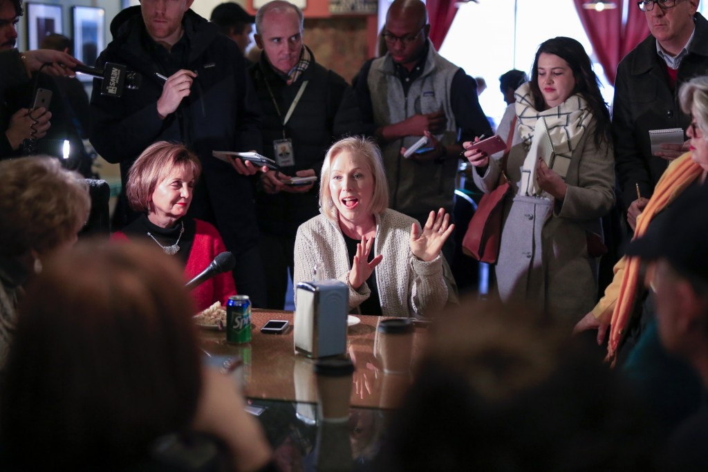 Senator Kirsten Gillibrand, D-N.Y., meets with residents at the Pierce Street Coffee Works cafe', in Sioux City, Iowa, Friday, Jan. 18, 2019. Sen. Gil