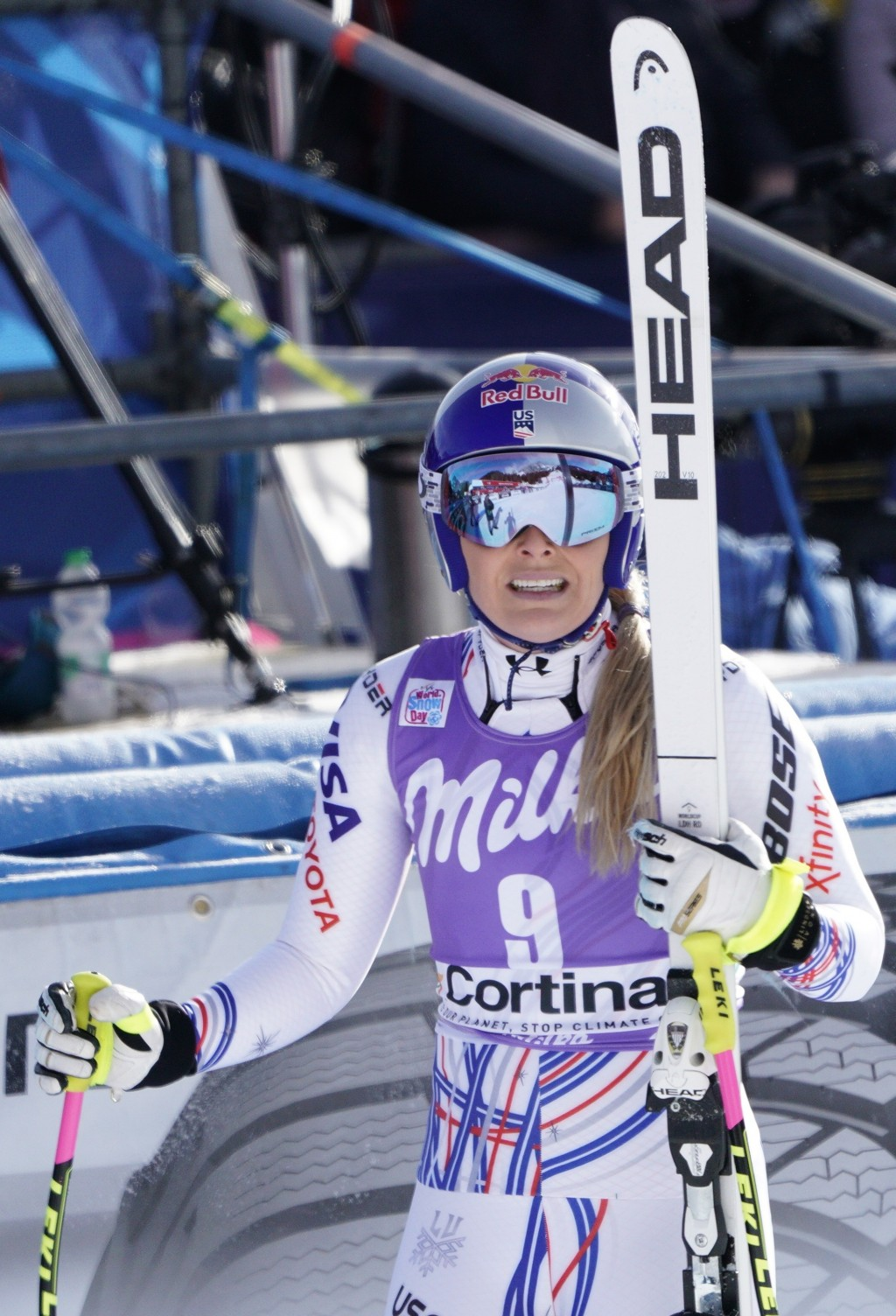 United States' Lindsey Vonn checks her time at the finish area of an alpine ski, women's World Cup downhill in Cortina D'Ampezzo, Italy, Saturday, Jan