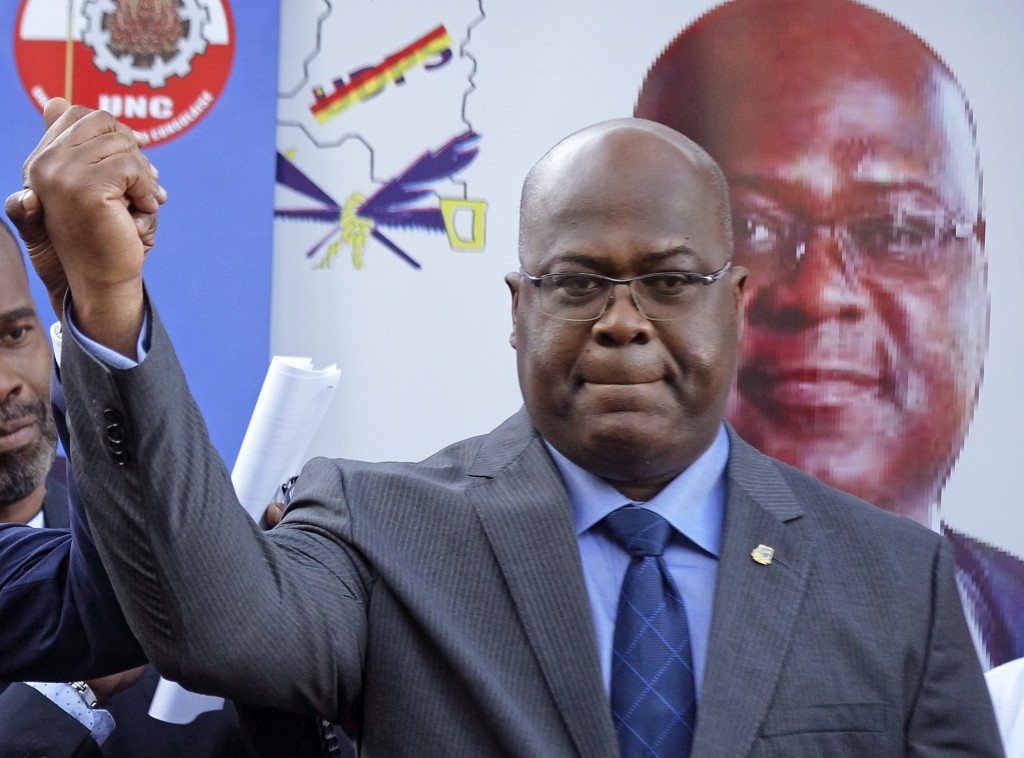 FILE - This Nov. 23, 2018, file photo shows Felix Tshisekedi of Congo's Union for Democracy and Social Progress opposition party, at a press conferenc...