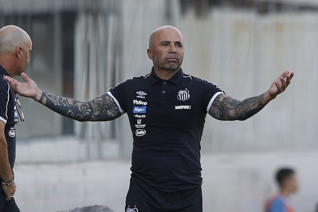 Jorge Sampaoli, coach of Santos, reacts during a Sao Paulo Soccer league championship match against Ferroviaria in Santos, Brazil, Saturday, Jan. 19, ...