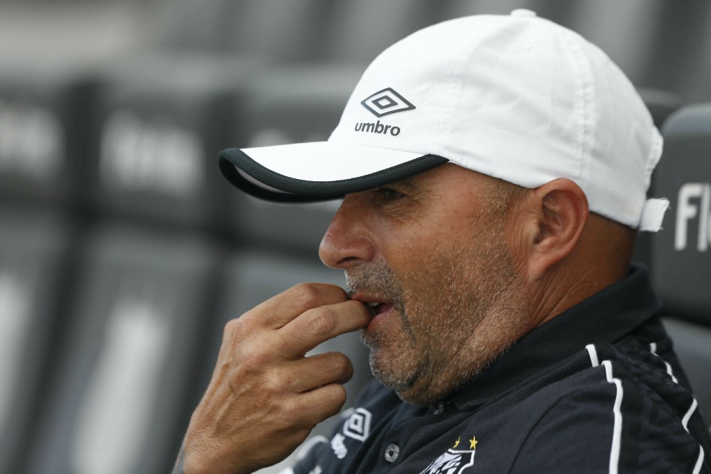 Jorge Sampaoli, coach of Santos, is seen prior to a Sao Paulo Soccer league championship match against Ferroviaria in Santos, Brazil, Saturday, Jan. 1...