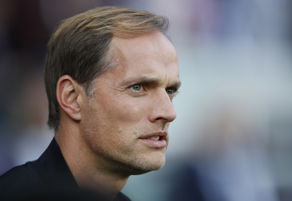 FILE - In this Oct. 20, 2018, file photo, PSG's coach Thomas Tuchel watches ahead of a French League One soccer match between Paris-Saint-Germain and