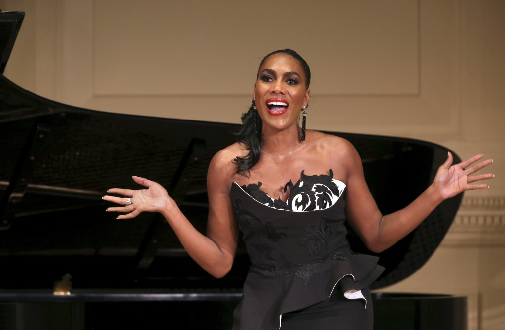 In this Dec. 13, 2018, photo provided by Carnegie Hall, J'nai Bridges, a mezzo-soprano, performs in her recital at Weill Recital Hall in Carnegie Hall...