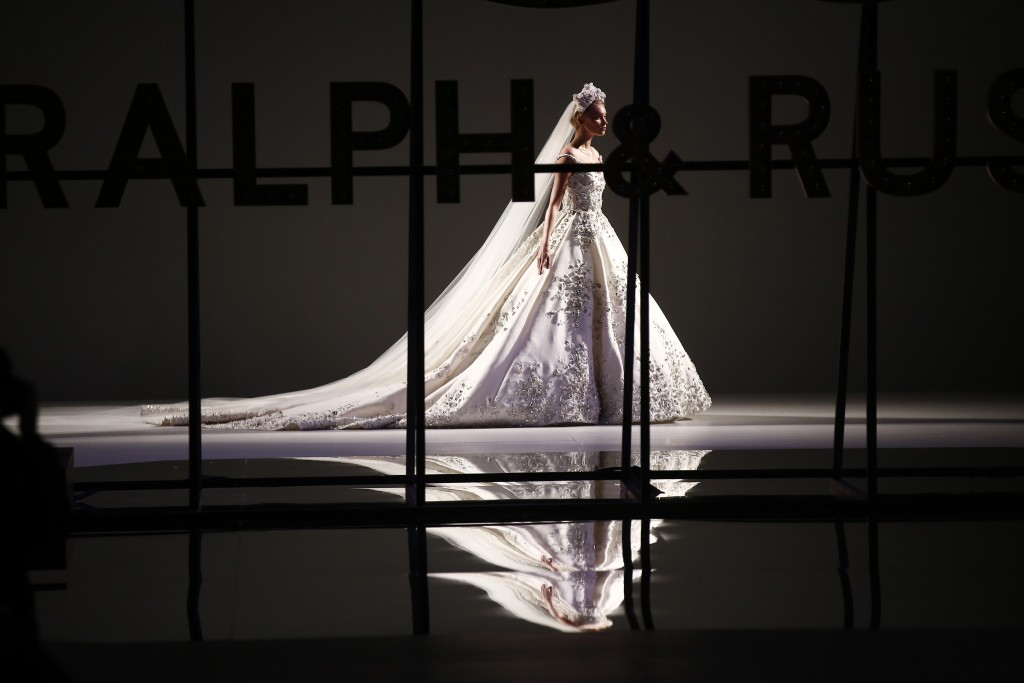 A model wears a creation for the Ralph & Russo Spring/Summer 2019 Haute Couture fashion collection presented in Paris, Monday Jan. 21, 2019. (AP Photo