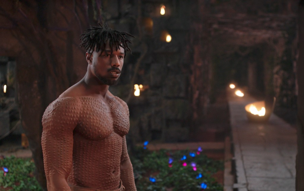 """This image released by Disney shows Michael B. Jordan in a scene from Marvel Studios' """"Black Panther."""" The film may emerge as a major contender Tuesda"""