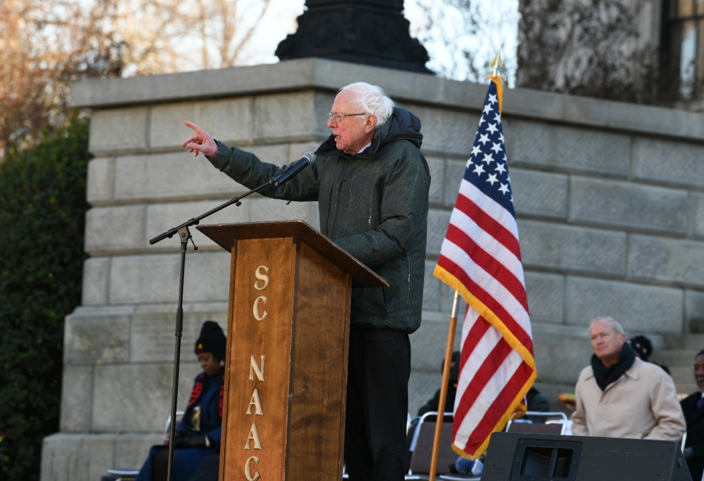 Sen. Bernie Sanders, I-Vt., speaks during Martin Luther King Jr. Day celebrations at the South Carolina Statehouse in Columbia, S.C., on Monday, Jan.