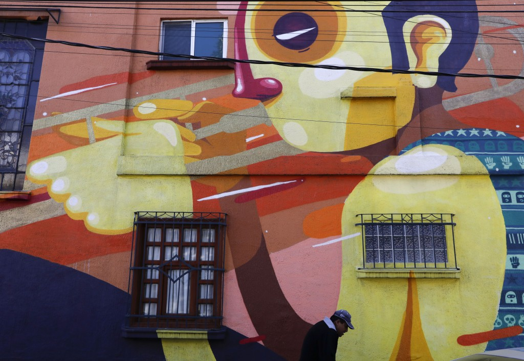 A mural decorates a building on Tepeji Street where Mexican film director Alfonso Cuaron grew up in the 1970s in the Roma Sur neighborhood of Mexico C