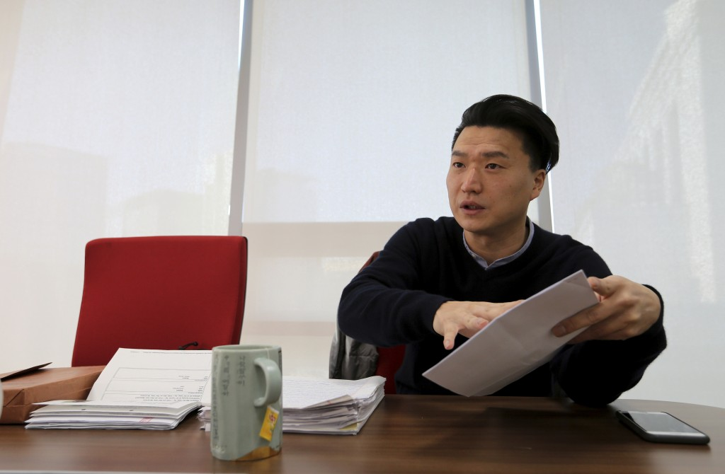 In this Jan. 2, 2019, photo, South Korean adoptee Adam Crapser speaks during an interview in Seoul, South Korea. Crasper was deported from the U.S. fo