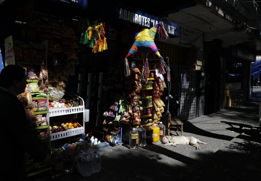 A dog suns himself outside a grocery store also selling traditional Christmas pinatas, in the Roma Sur neighborhood of Mexico City, Wednesday, Dec. 19