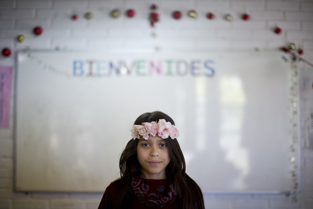 In this Dec.14, 2018 photo, Constanza, a transgender girl, poses for a photo at the Amaranta Gomez school in Santiago, Chile. Since its start, school