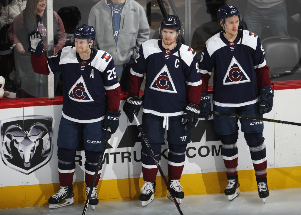 From left, Colorado Avalanche center Nathan MacKinnon, left wing Gabriel Landeskog and right wing Mikko Rantanen, who are headed to play in the All-St