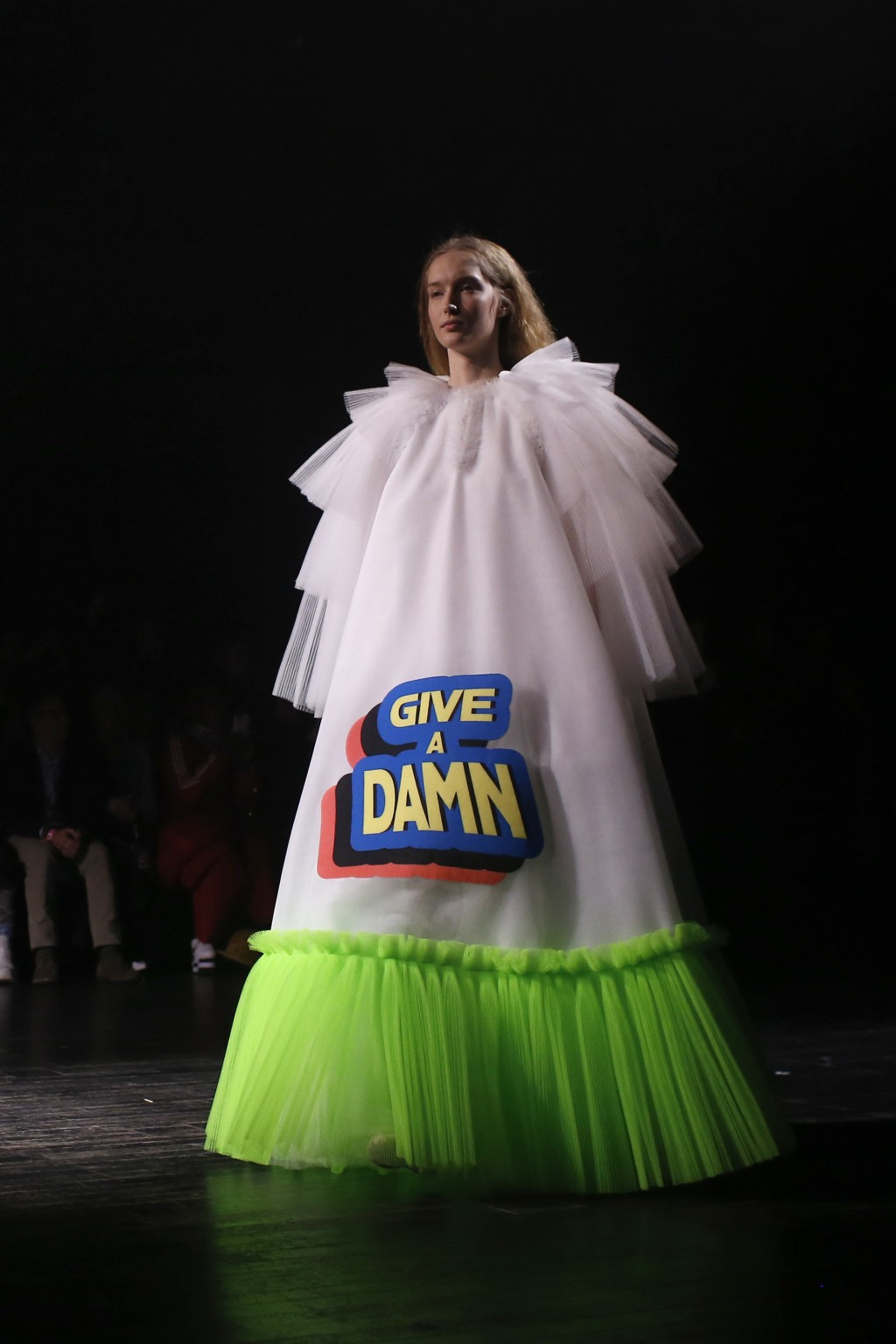 A model wears a creation for the Viktor and Rolf Spring/Summer 2019 Haute Couture fashion collection presented in Paris, Wednesday Jan. 23, 2019. (AP ...