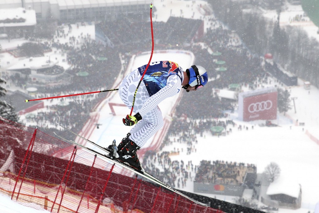 Italy's Dominik Paris competes during an alpine ski, men's World Cup downhill, in Kitzbuehel, Austria, Friday, Jan. 25, 2019. (AP Photo/Shinichiro Tan...