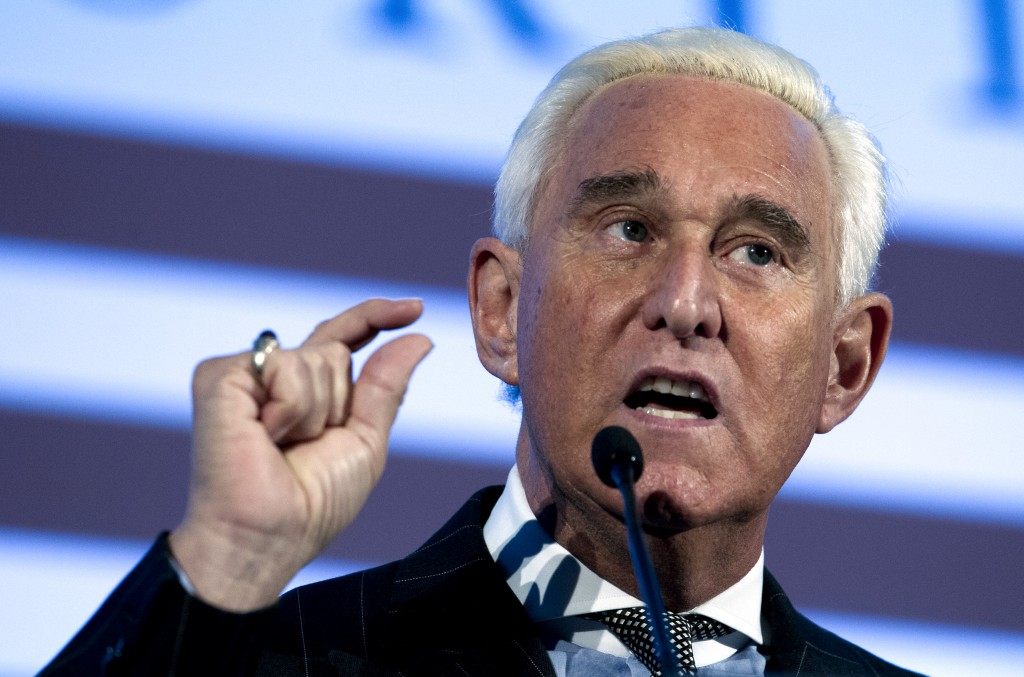 FILE - In this Dec. 6, 2018, file photo, Roger Stone speaks at the American Priority Conference in Washington. Stone, an associate of President Donald...