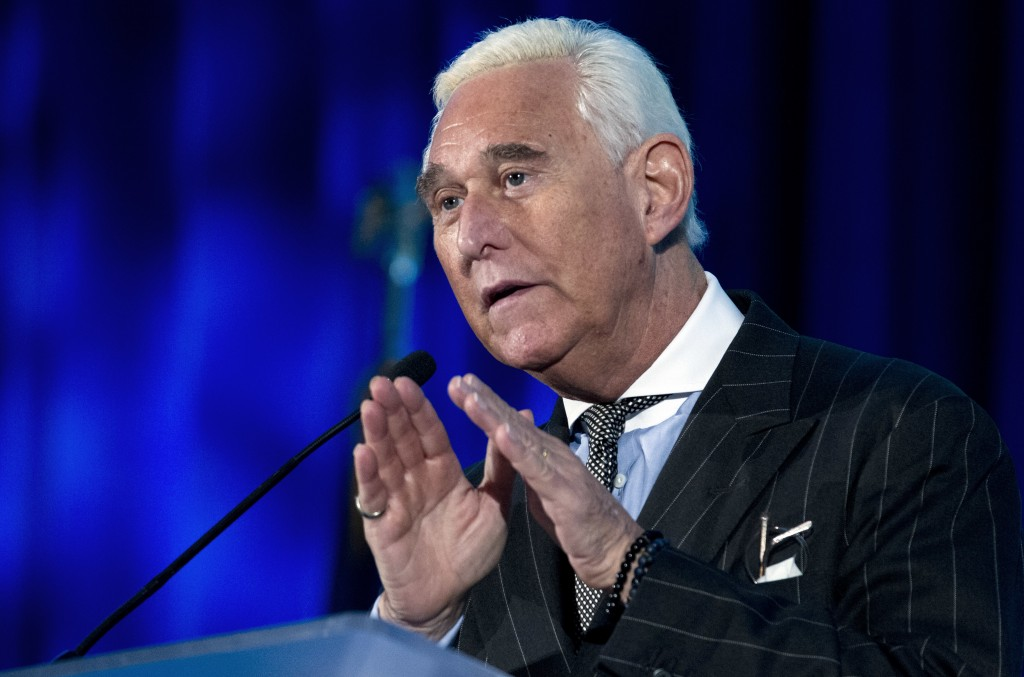 FILE - In this Thursday, Dec. 6, 2018, file photo, Roger Stone speaks at the American Priority Conference in Washington. Stone, an associate of Presid...