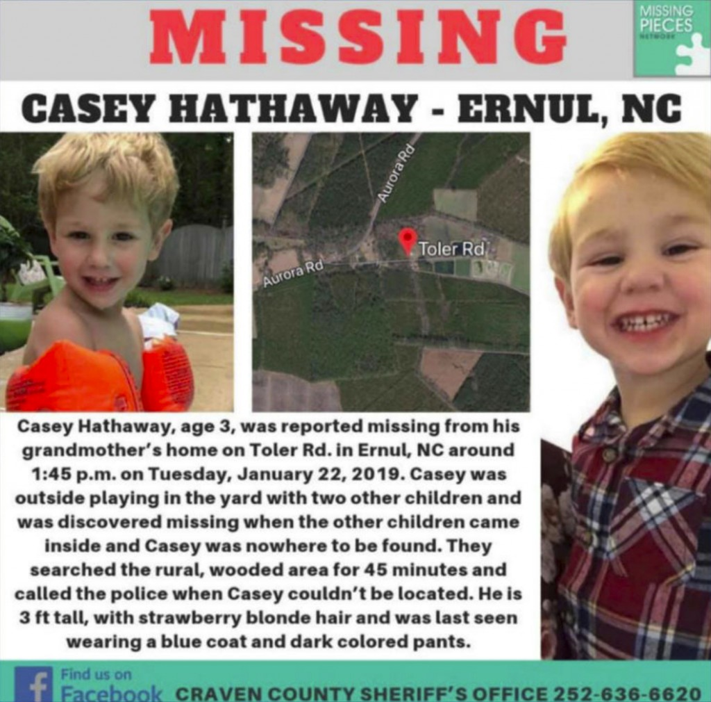 FILE - This undated file image provided by the Craven County Sheriff's Office shows an online poster for missing Casey Hathaway. Authorities in North