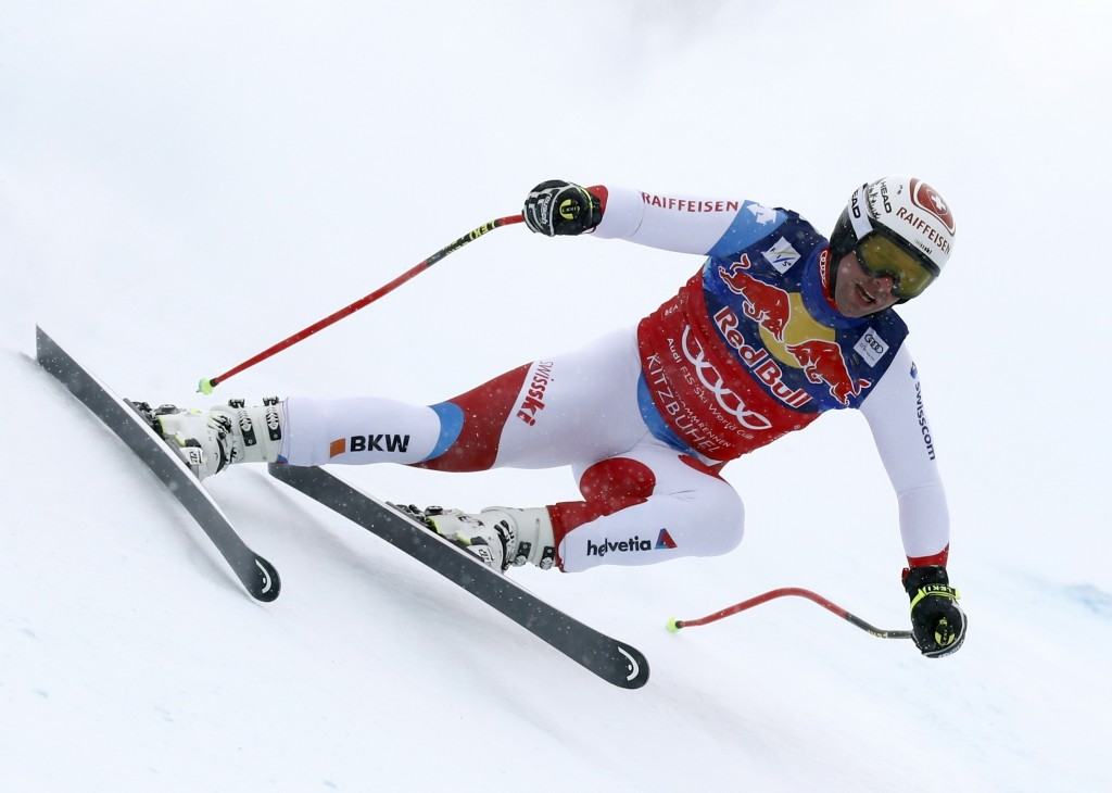 Switzerland's Beat Feuz competes during an alpine ski, men's World Cup downhill, in Kitzbuehel, Austria, Friday, Jan. 25, 2019. (AP Photo/Gabriele Fac...